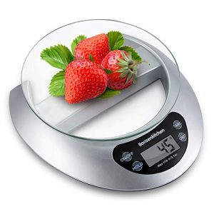 Digital Food Kitchen Scale, Bonsenkitchen 11lb Digital Kitchen Scale Weight Grams and oz for Cooking Baking, 1g/0.1oz Precise Graduation, High Accuracy with Tare & Auto Off Multifunction , Ash Grey