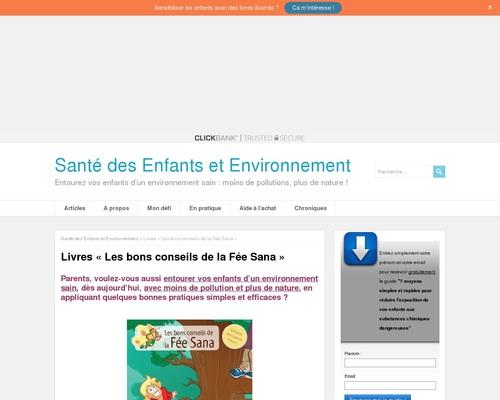 Livres «Les bons conseils de la Fée Sana»   Santé des Enfants et Environnement
