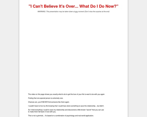 The Breakup Cure – Over ,500,000 In Testing On Cold Traffic